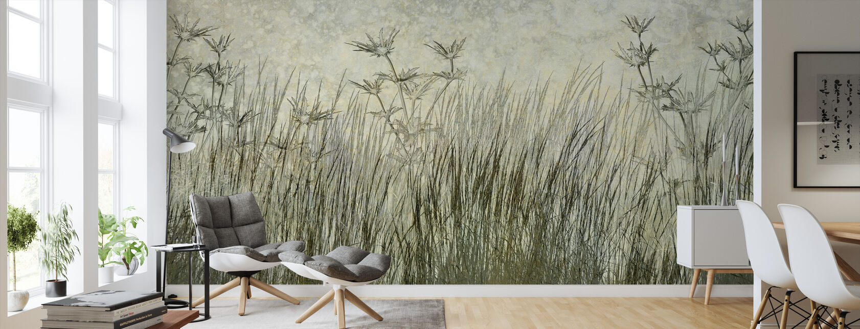 Dark Green Grass Silhouette - Wallpaper - Living Room