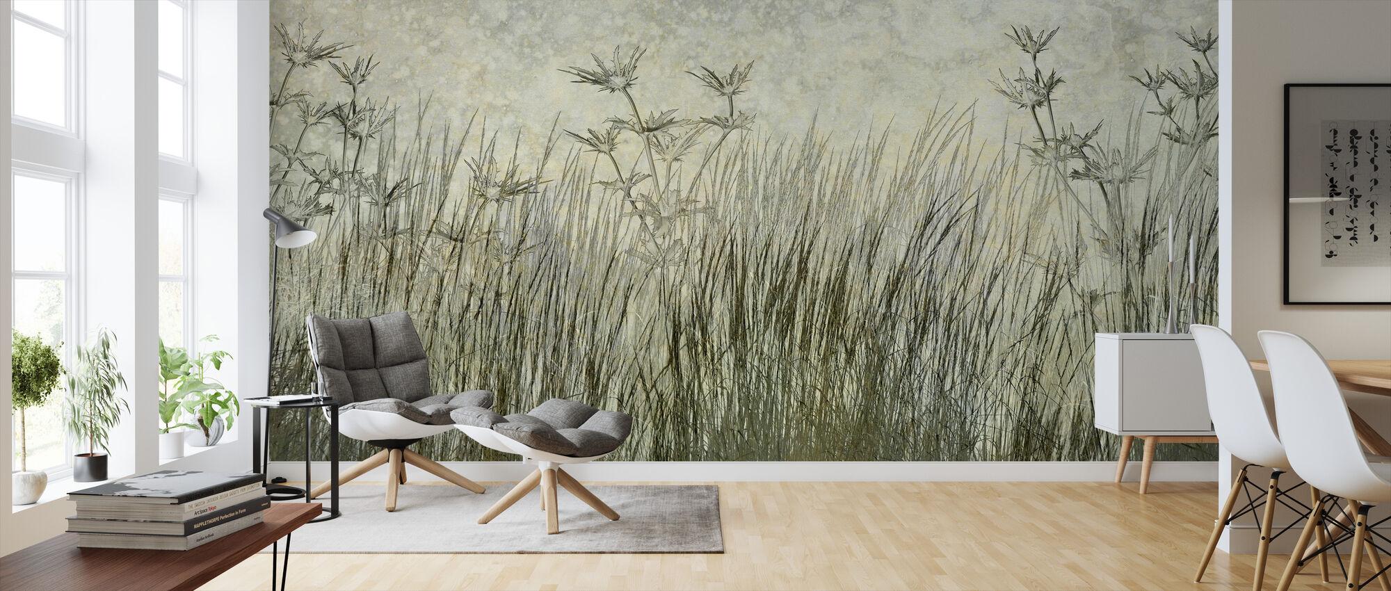 Donker Groen Gras Silhouet - Behang - Woonkamer