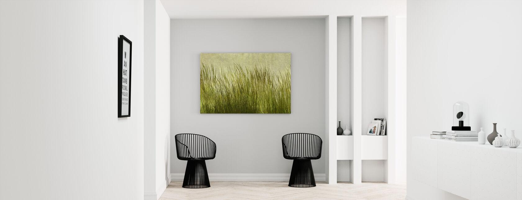 Hellgrünes Gras Silhouette - Leinwandbild - Flur