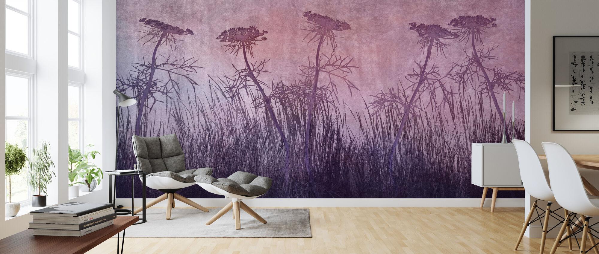 Purple Grass Silhouette - Wallpaper - Living Room