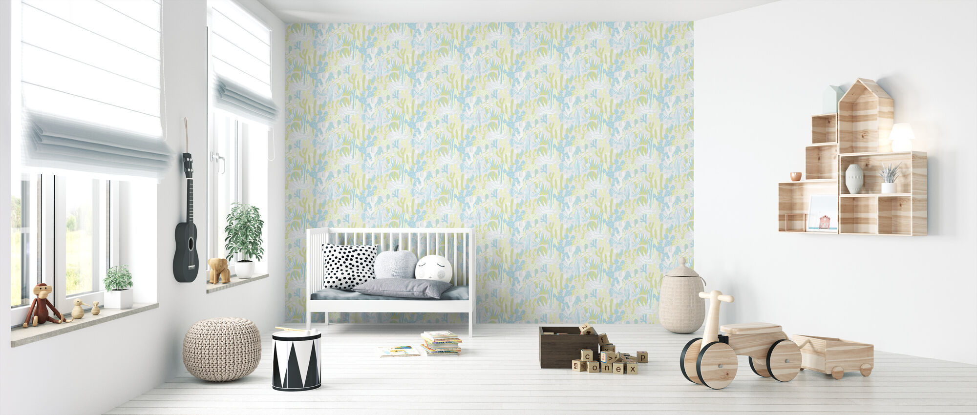 Cacti Blue - Wallpaper - Nursery