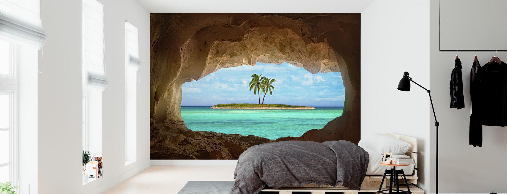 Paradies durch Fenster - Tapete - Schlafzimmer