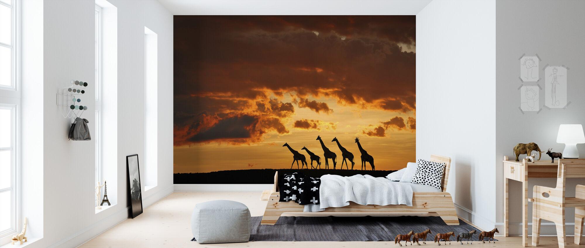 Vijf Giraffen - Behang - Kinderkamer