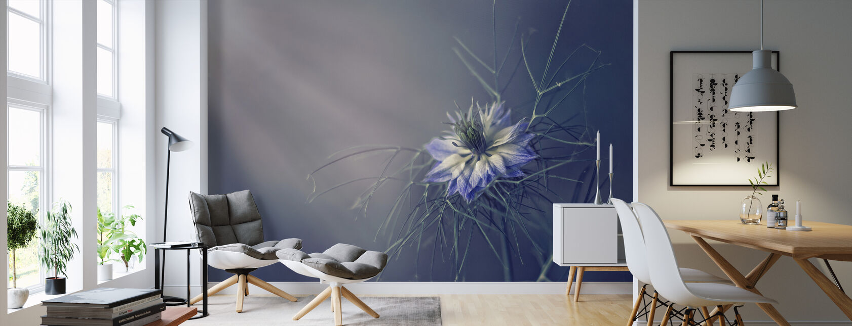 Prickly Blue - Wallpaper - Living Room