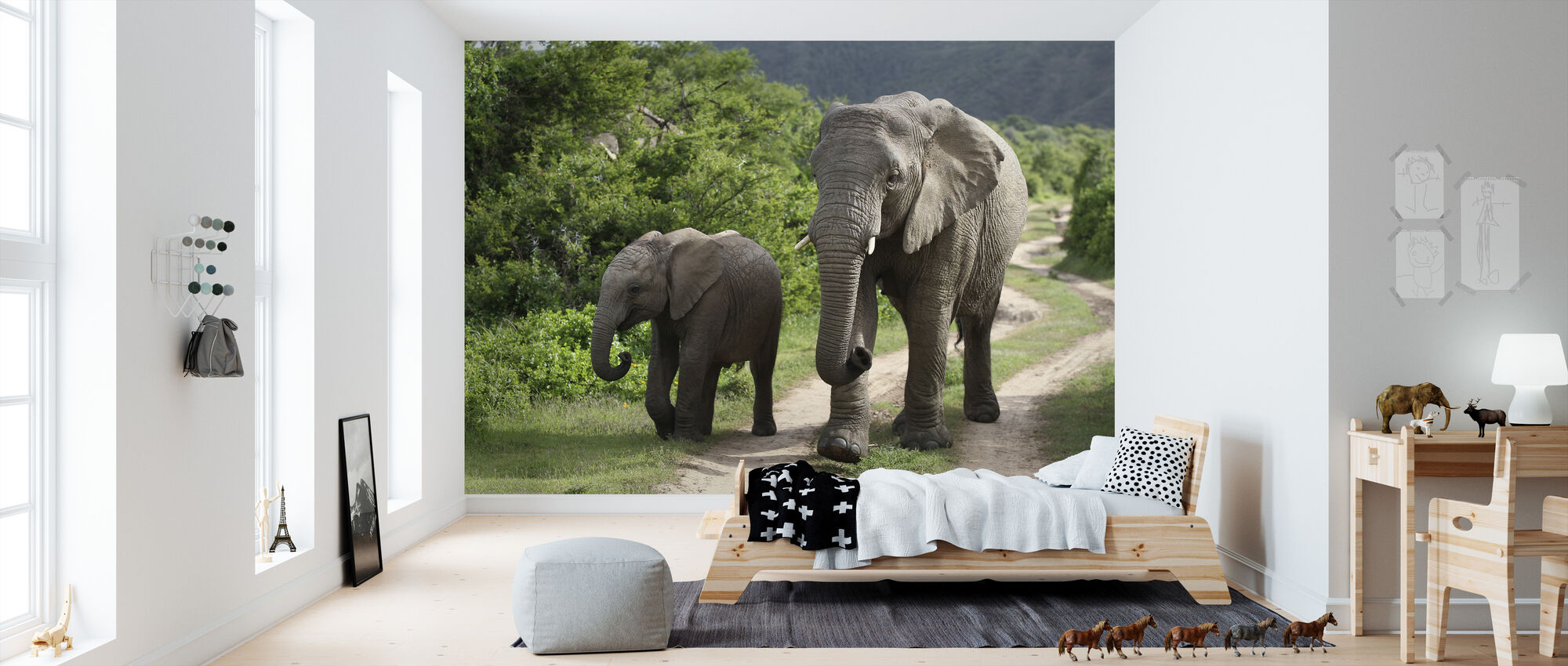 Elephant Baby and Mother_ - Wallpaper - Kids Room