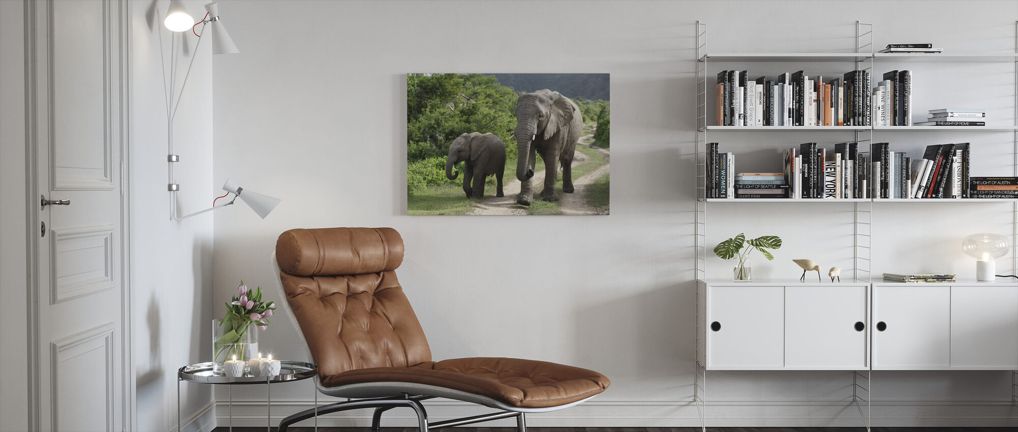 Elephant Baby and Mother_ - Canvas print - Living Room