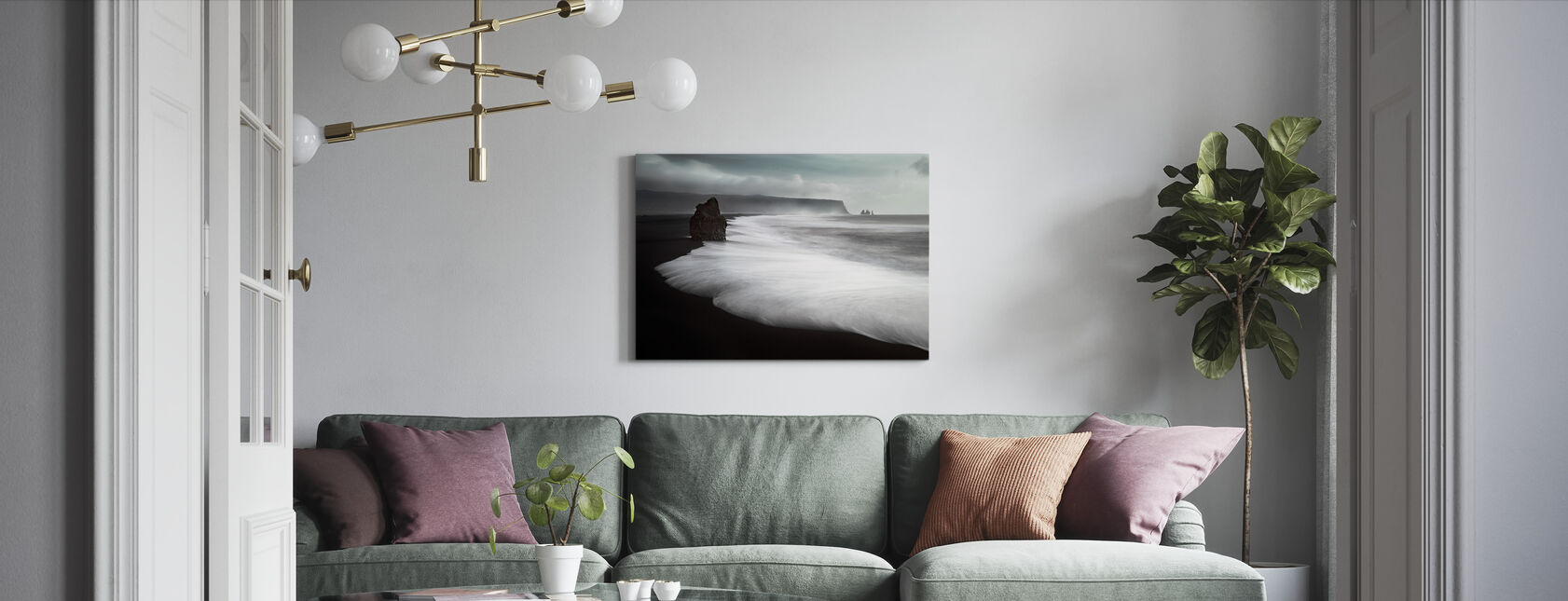 The Black Beach - Canvas print - Living Room