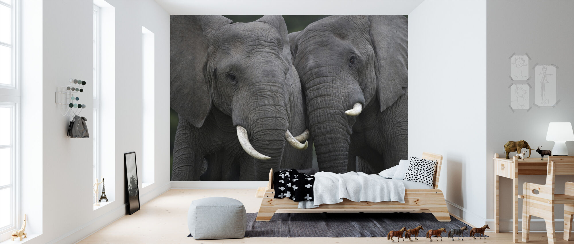 Friendly Elephants - Wallpaper - Kids Room