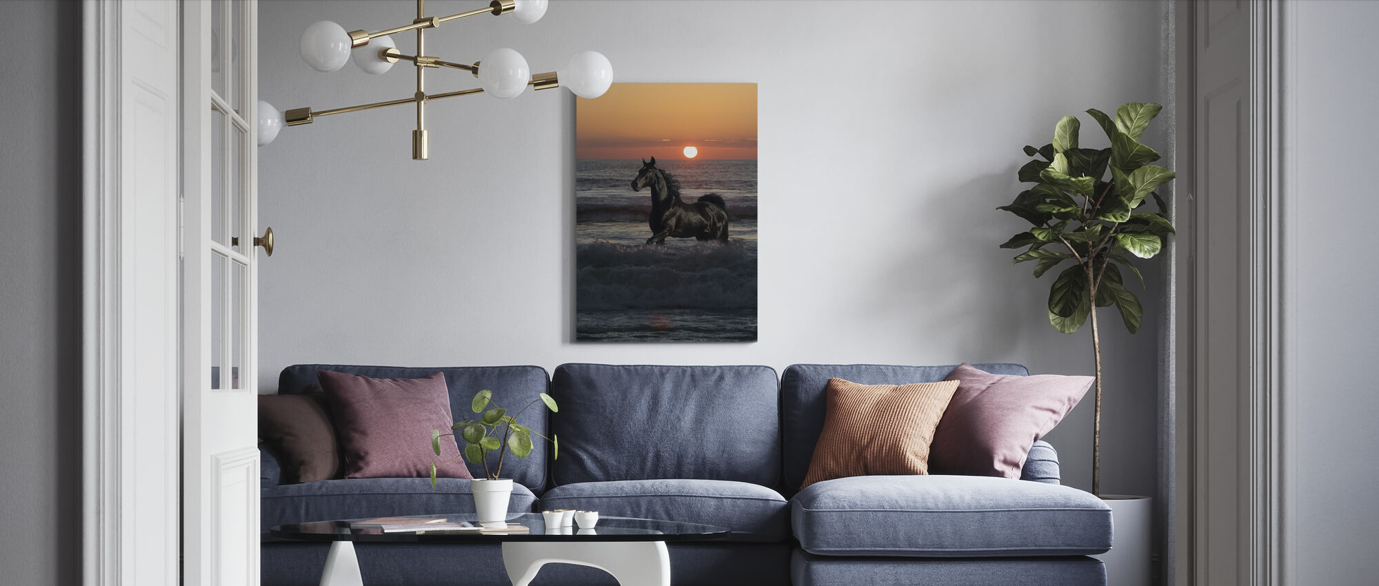 Horse Bathing in Sunset - Canvas print - Living Room