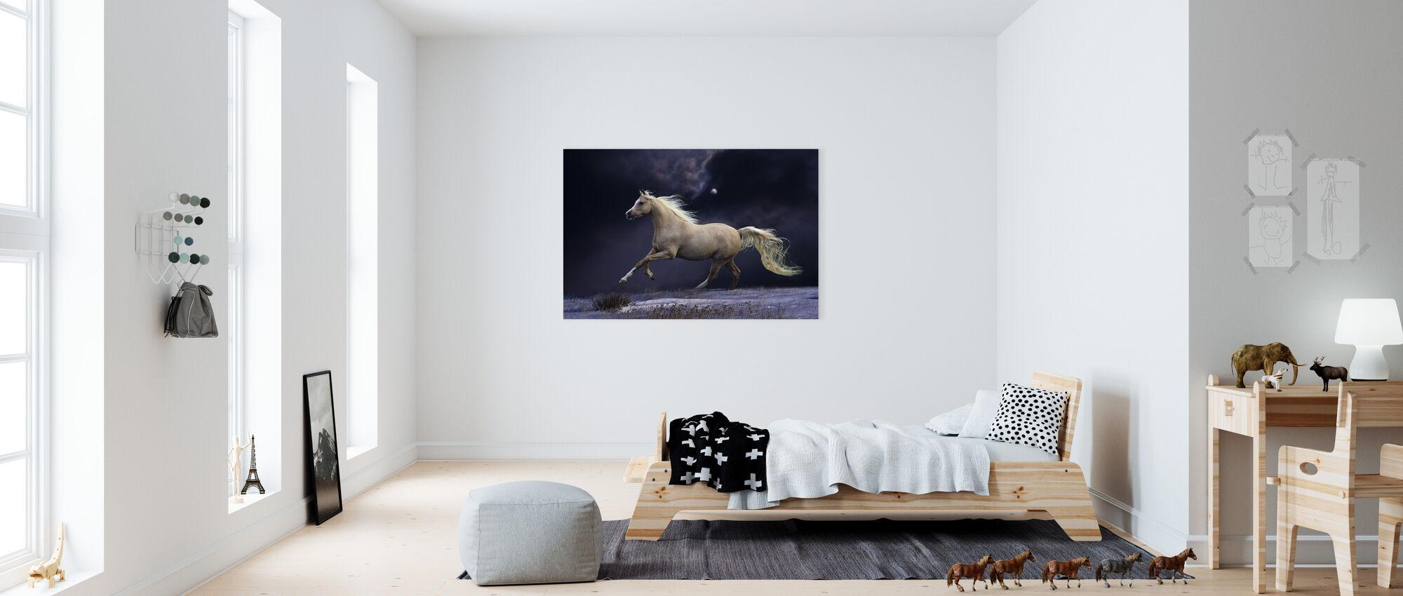 Horse in Moonlight - Canvas print - Kids Room