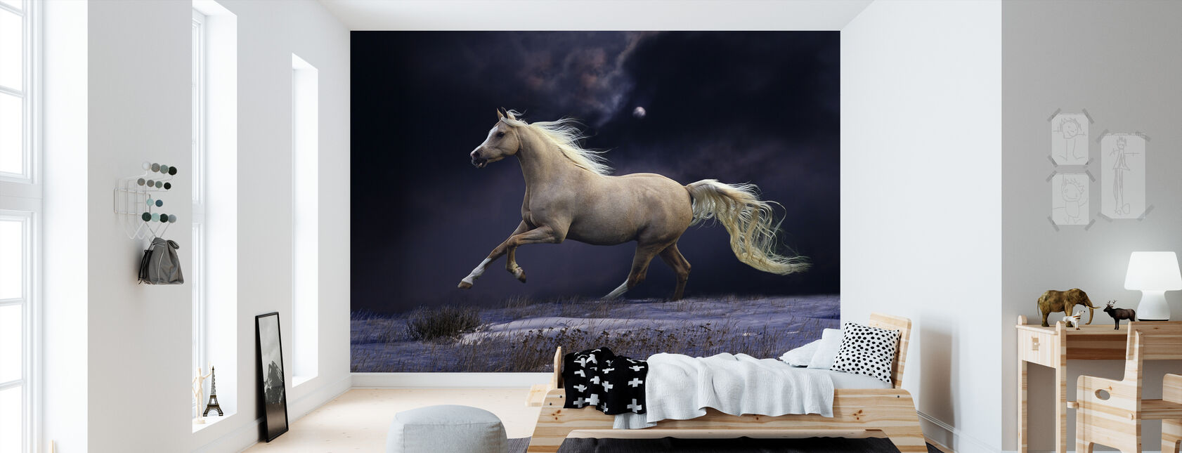 Paard in Moonlight - Behang - Kinderkamer