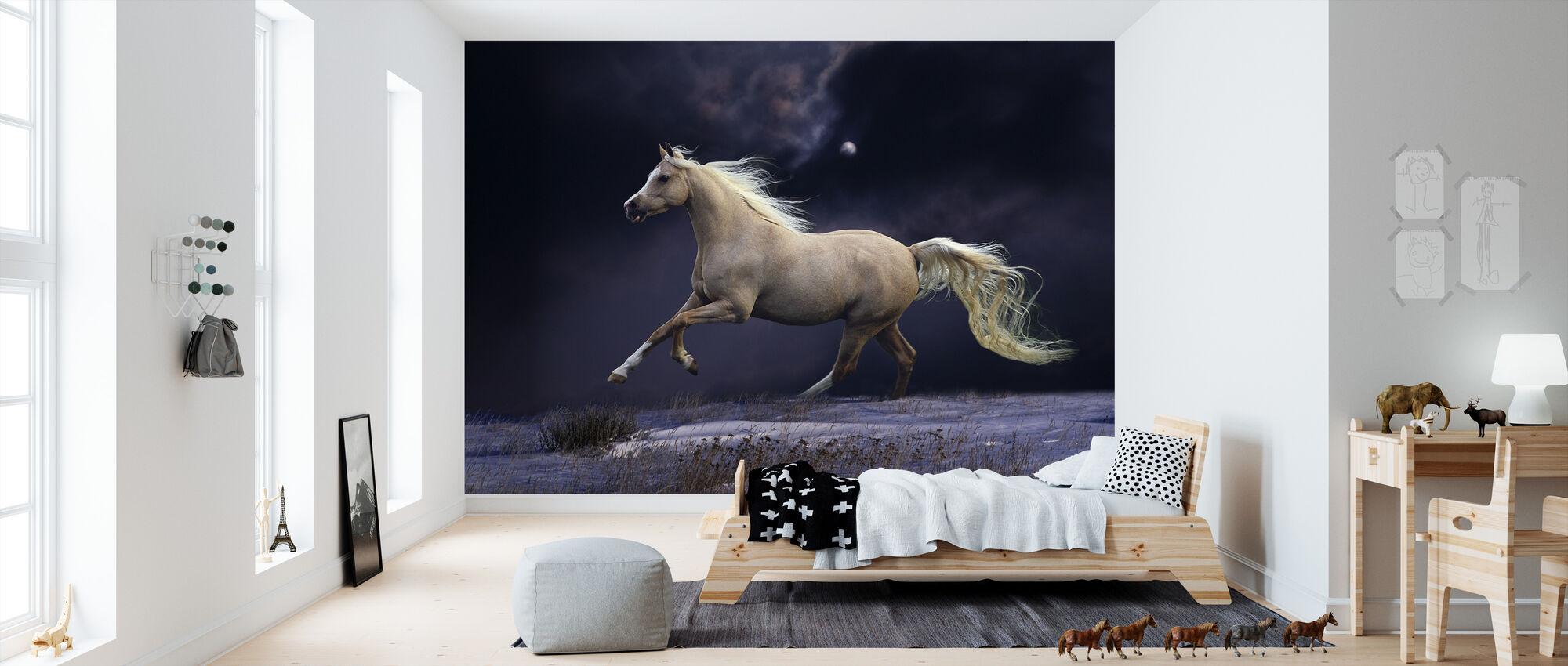 Horse in Moonlight - Wallpaper - Kids Room