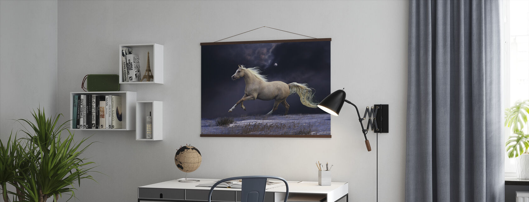Horse in Moonlight - Poster - Office