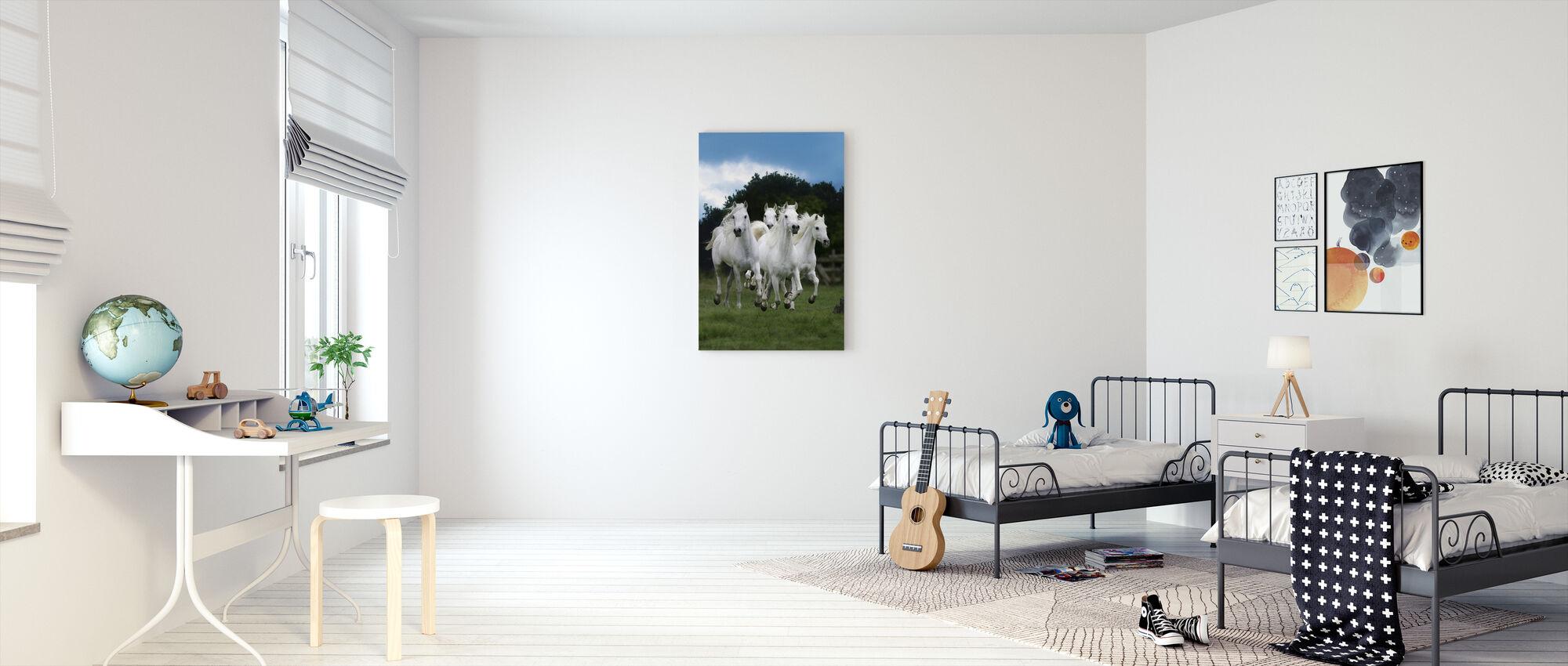 Shining White Horses - Canvas print - Kids Room