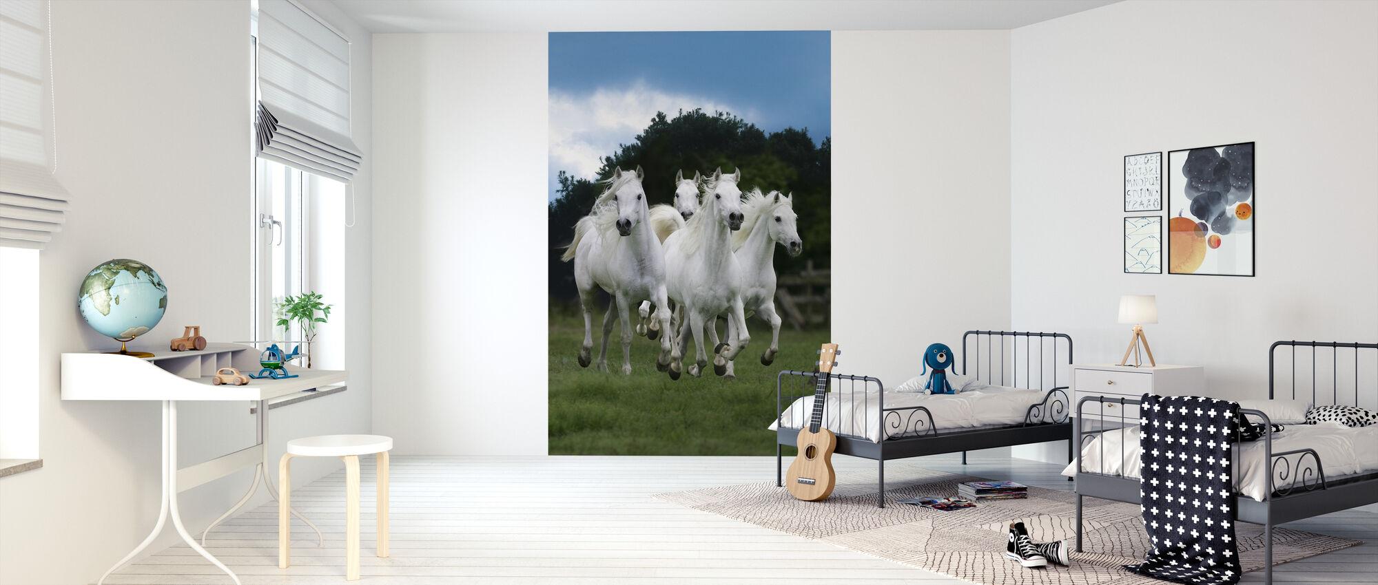 Glanzende Witte Paarden - Behang - Kinderkamer