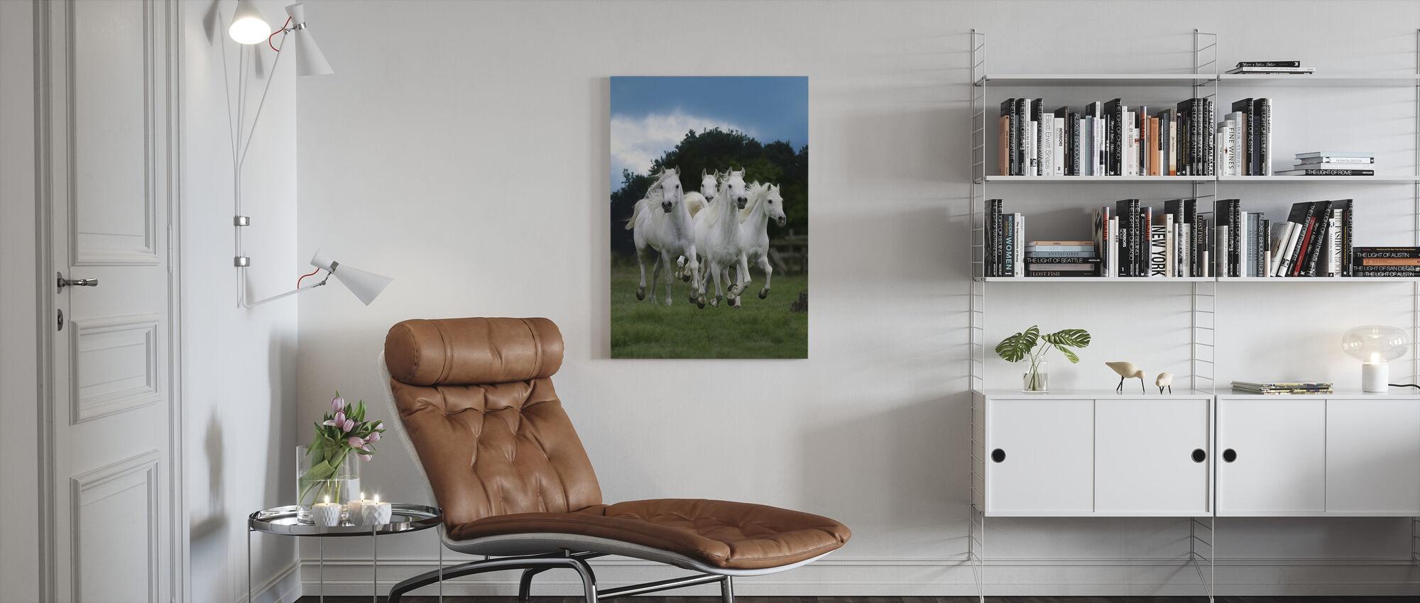 Shining White Horses - Canvas print - Living Room