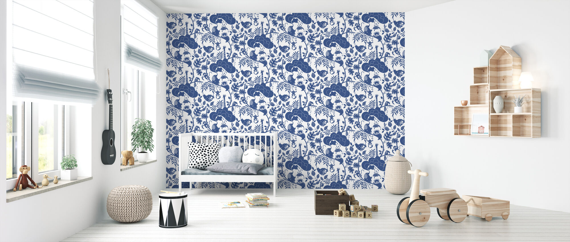 Lazy Jungle Blue - Wallpaper - Nursery