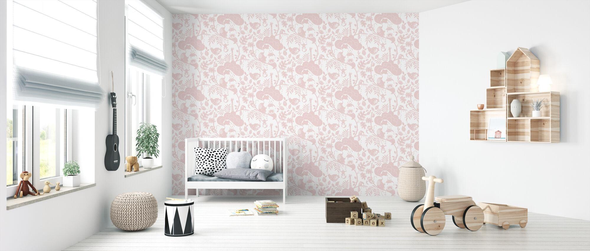 Lazy Jungle Pink - Wallpaper - Nursery