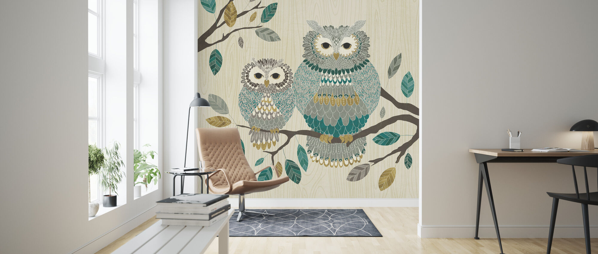 Owl Couple - Wallpaper - Living Room
