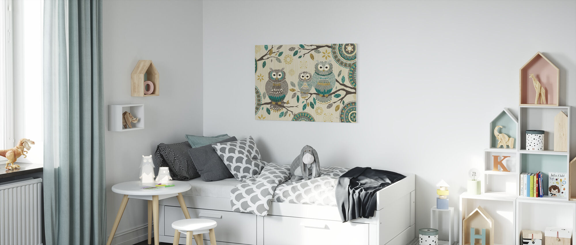 Owl Trio - Canvas print - Kids Room