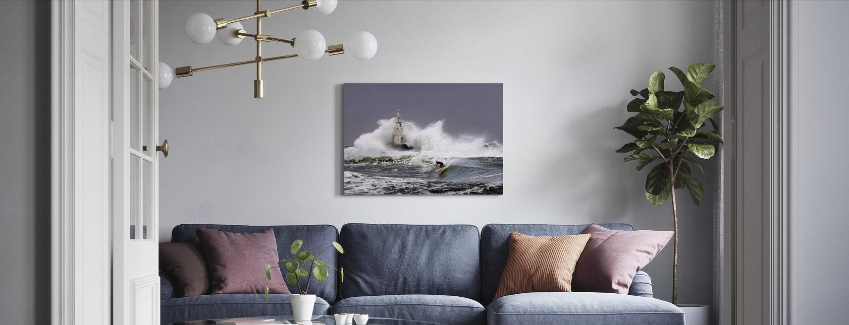 Leuchtturm Surfer - Leinwandbild - Wohnzimmer