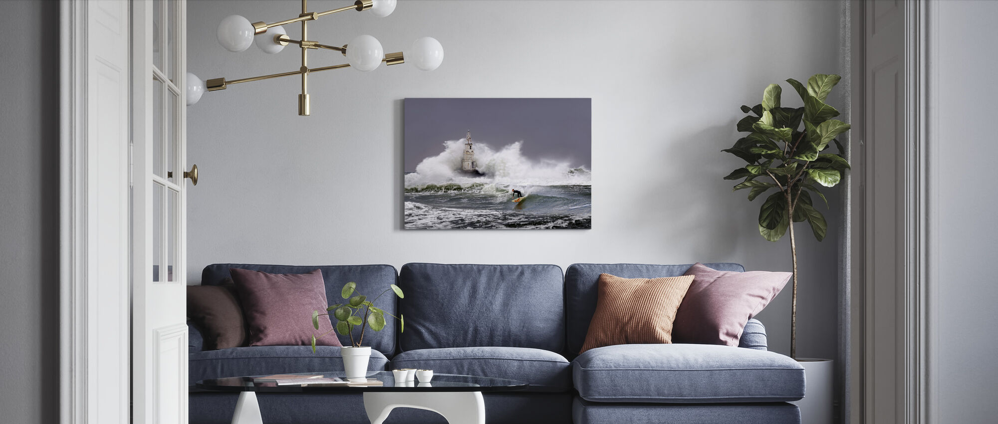 Lighthouse Surfer - Canvas print - Living Room