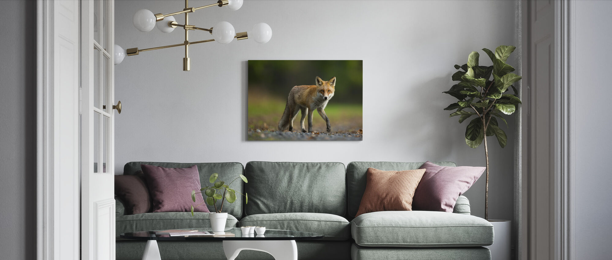 Red fox on his way - Canvas print - Living Room