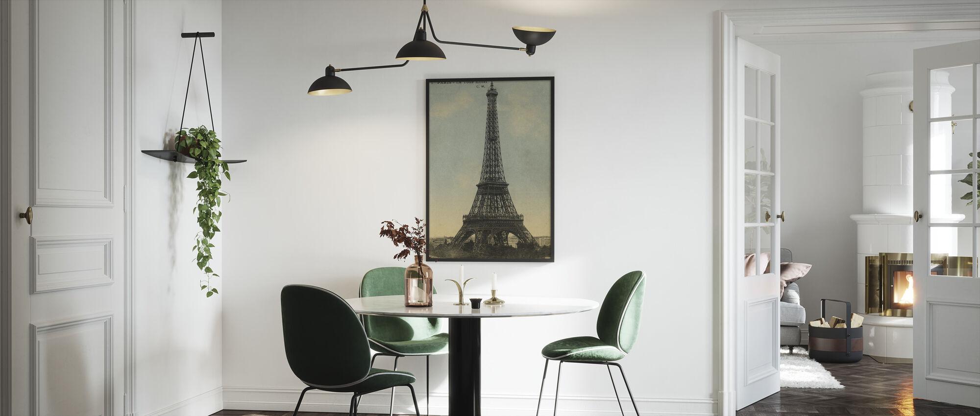 Vintage Eiffel Tower Blue Sky - Framed print - Kitchen