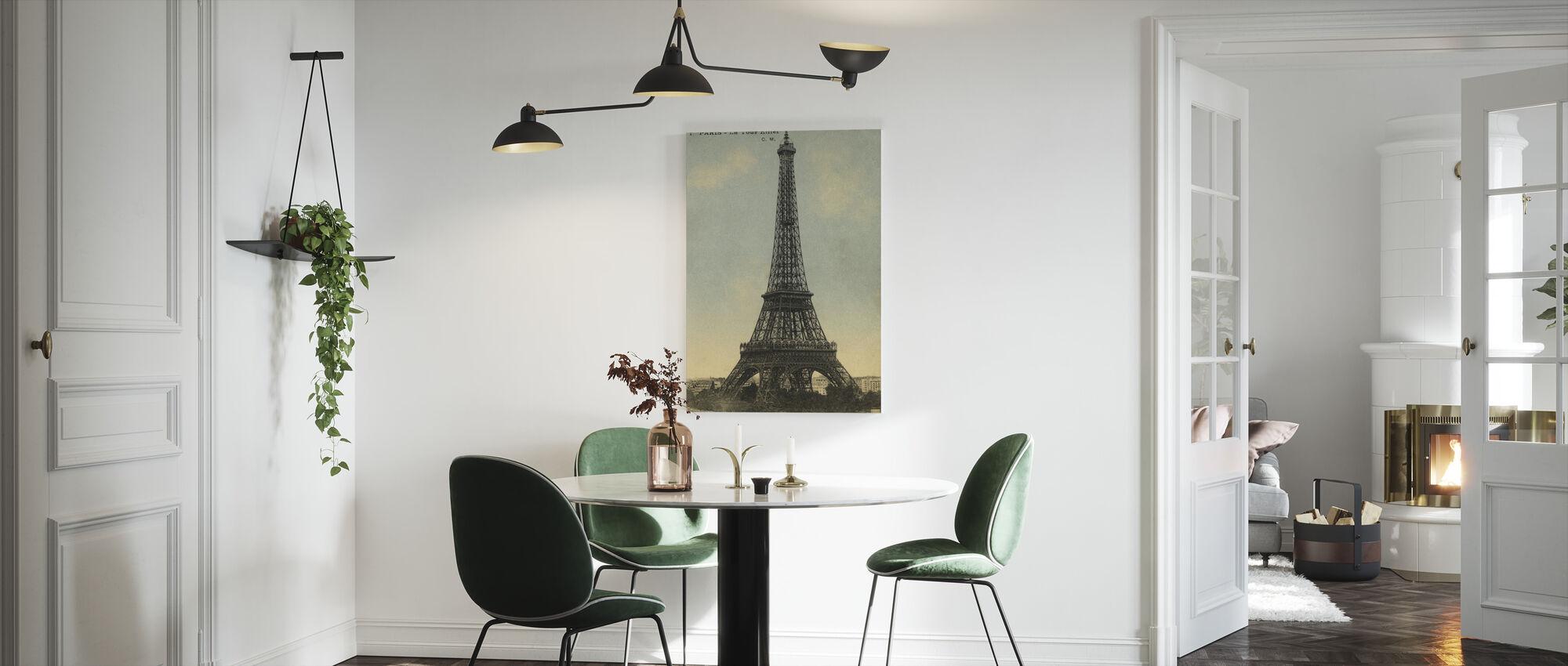Vintage Eiffeltoren Blauwe Lucht - Canvas print - Keuken