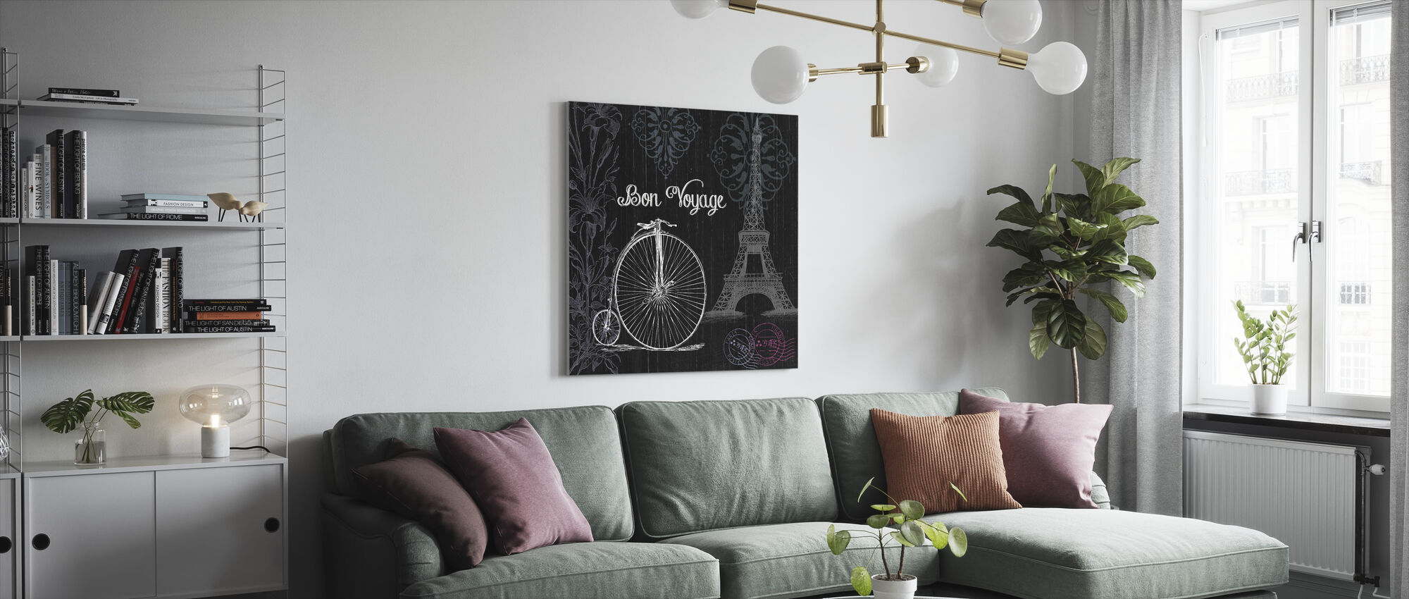 Bon Voyage in Black - Canvas print - Living Room
