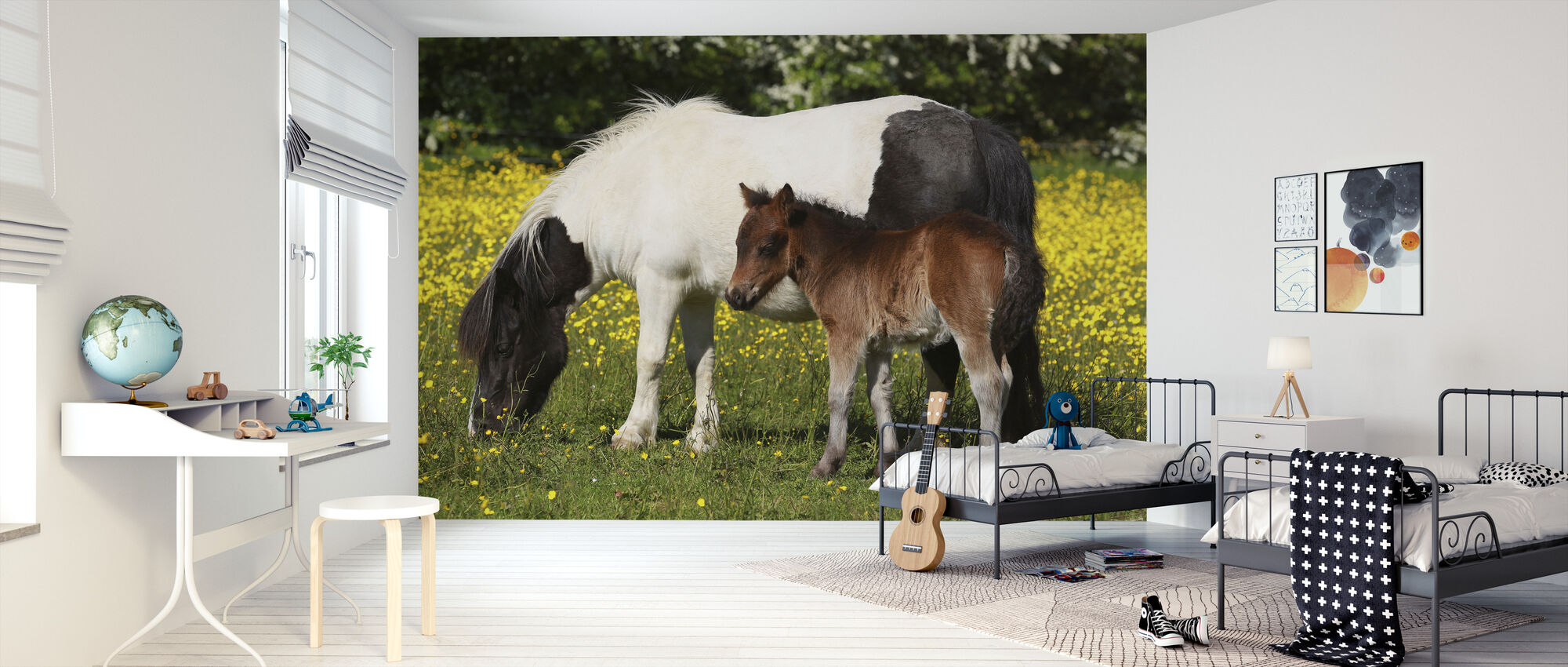 Shetland Ponies Foal and Mother - Wallpaper - Kids Room