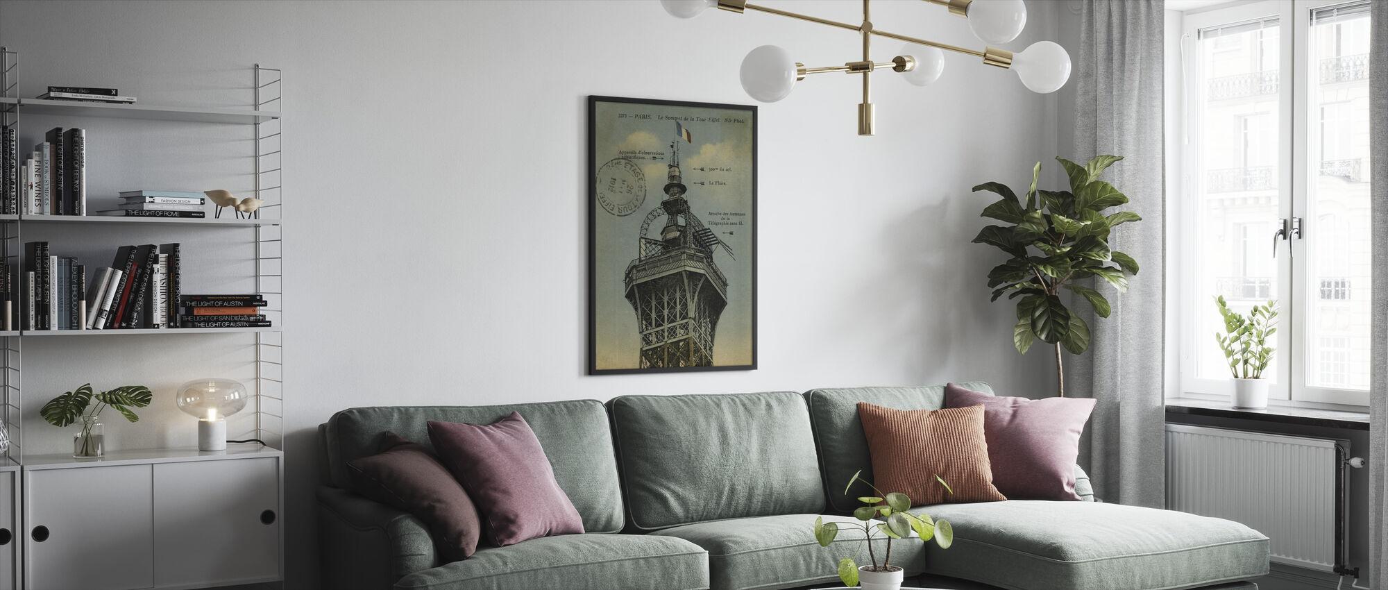 Vintage Eiffel Top Blue Sky - Framed print - Living Room