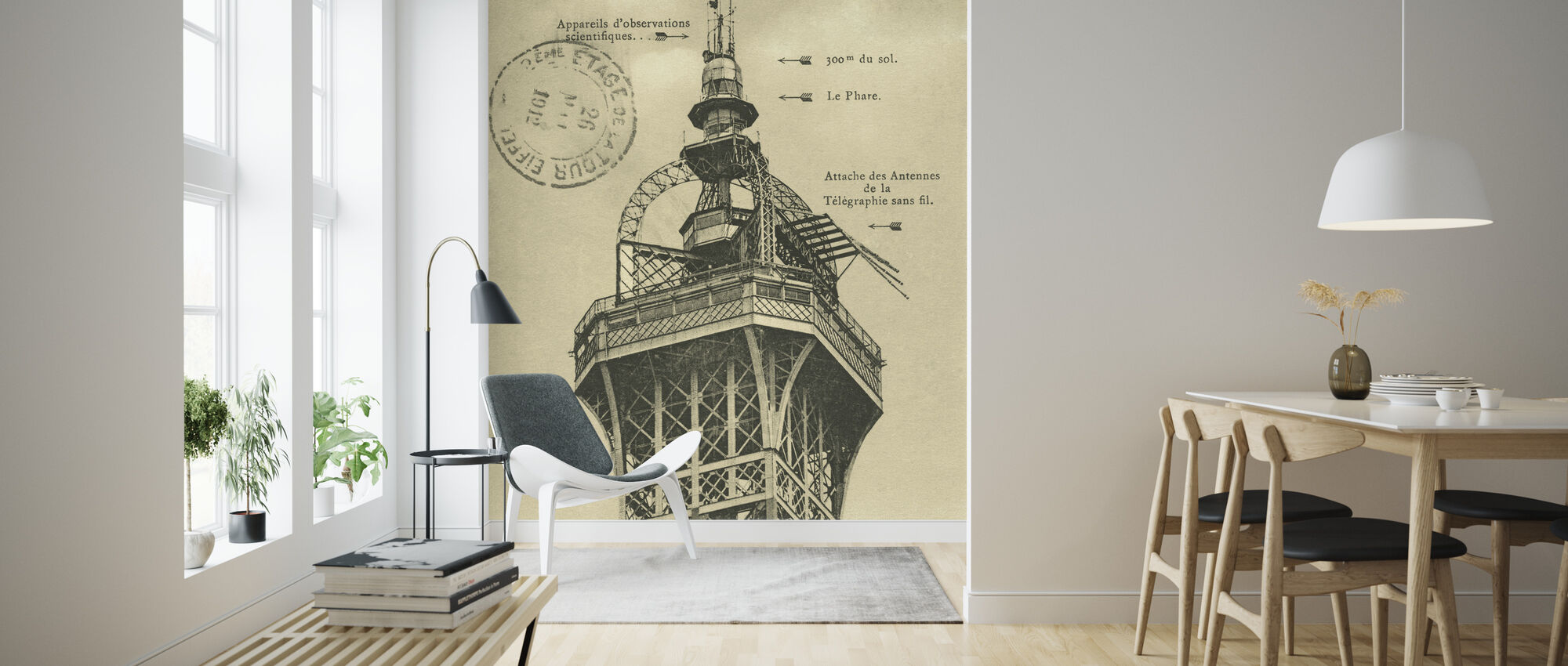 Vintage Eiffel Top Sepia - Wallpaper - Living Room