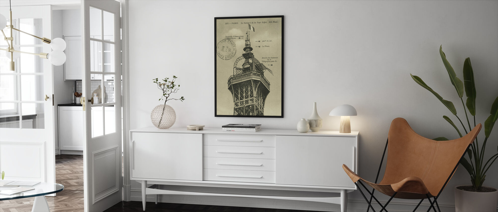 Vintage Eiffel Top Sepia - Indrammet billede - Stue