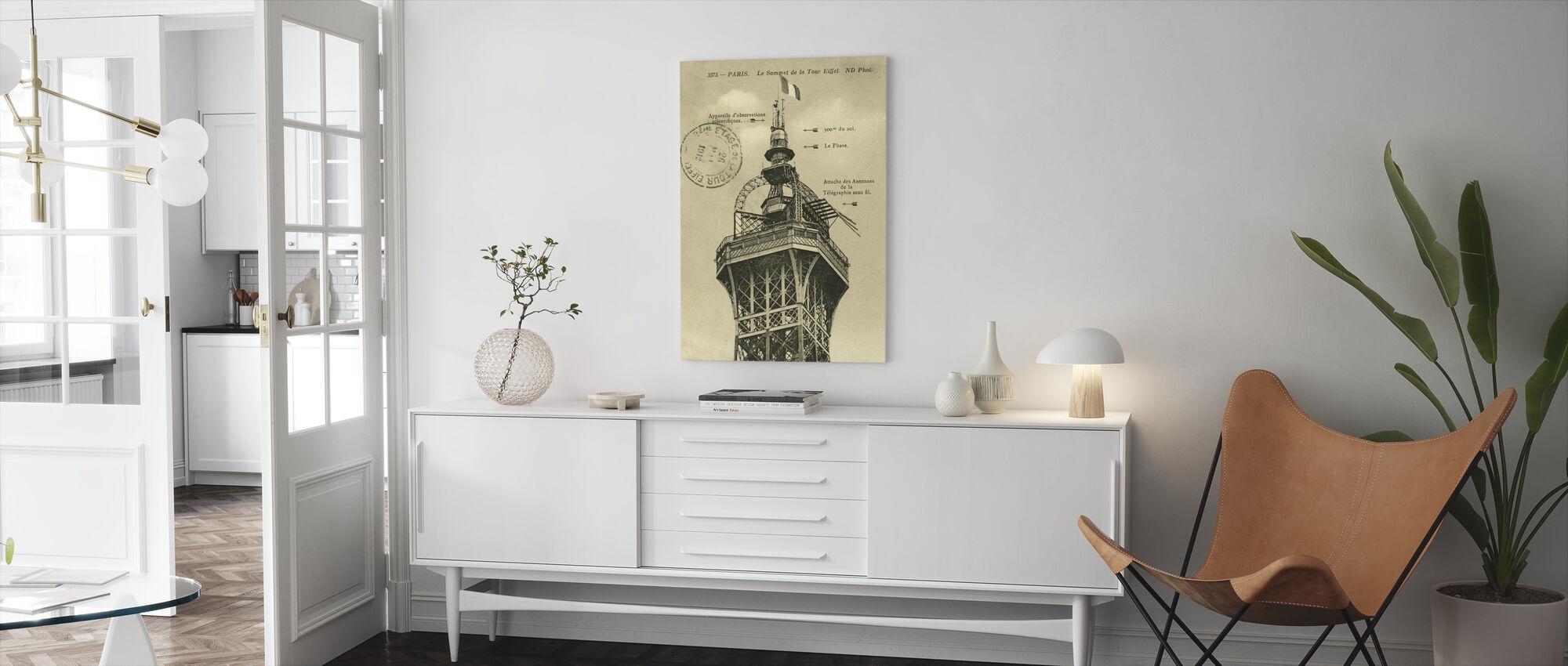 Vintage Eiffel Top Sepia - Canvas print - Woonkamer