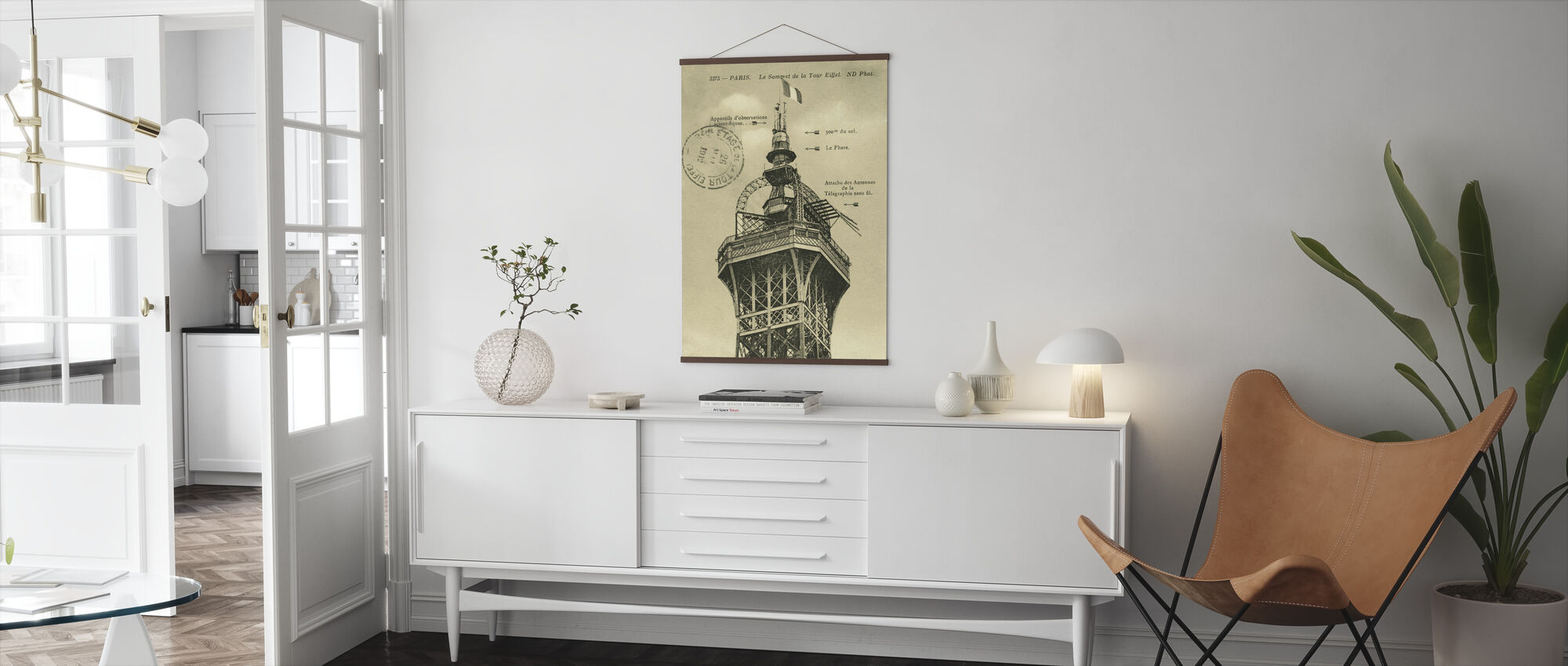 Vintage Eiffel Top Sepia - Poster - Living Room