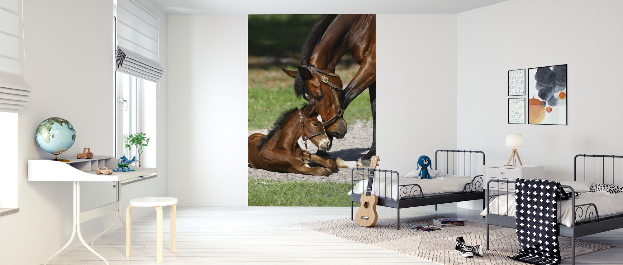 Thoroughbred Horses Cuddling - Wallpaper - Kids Room