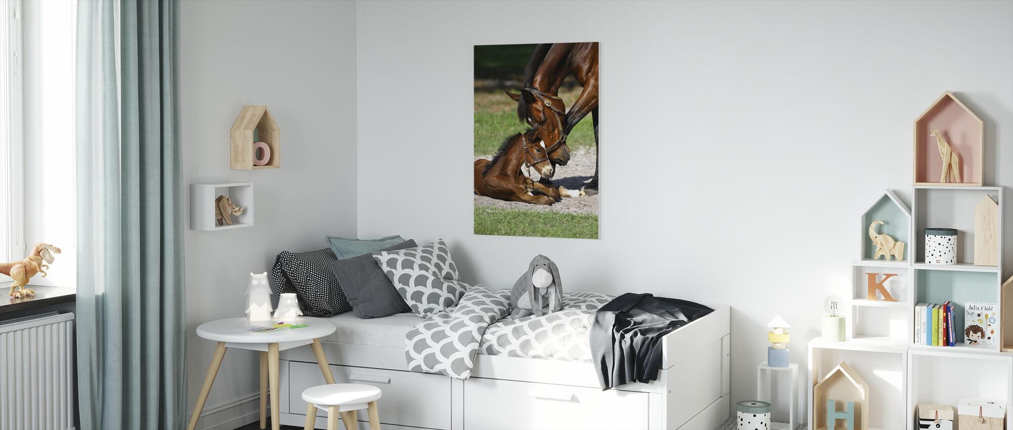 Thoroughbred Horses Cuddling - Canvas print - Kids Room