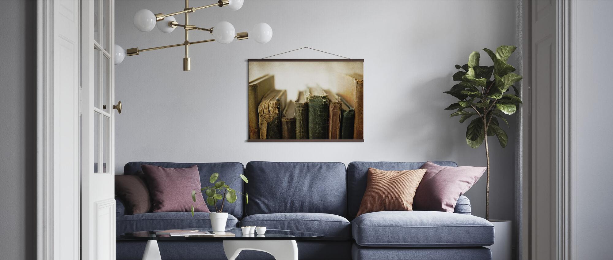 Back of Old Books - Poster - Living Room