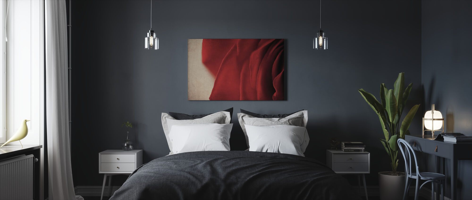 Vintage Red Rose - Canvas print - Bedroom