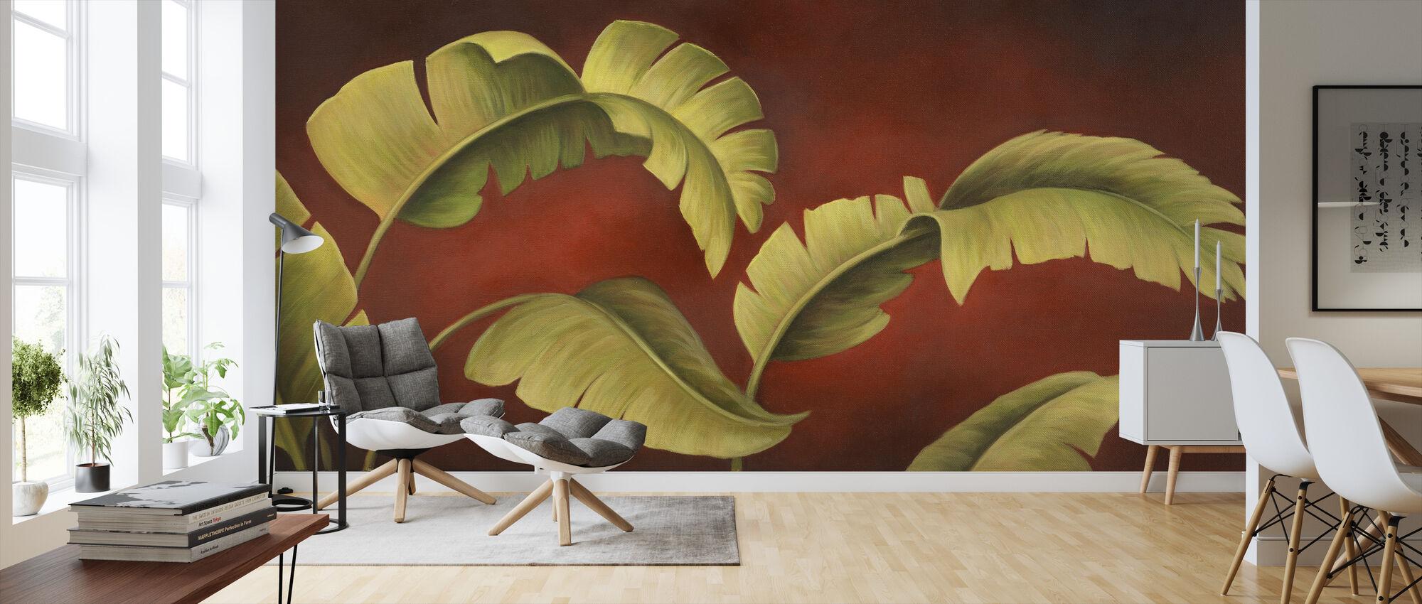 Palms On Burgundy - Wallpaper - Living Room