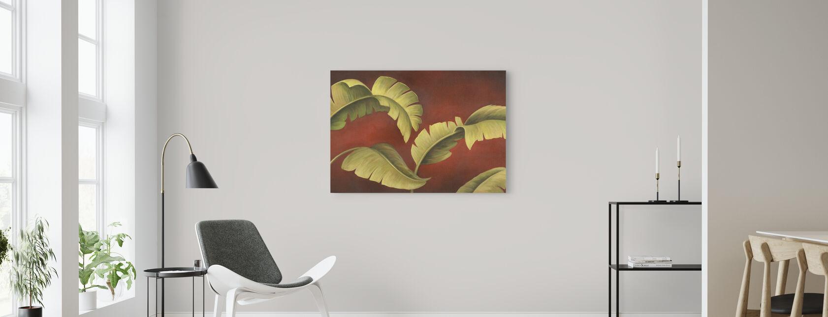 Palms On Burgundy - Canvas print - Living Room