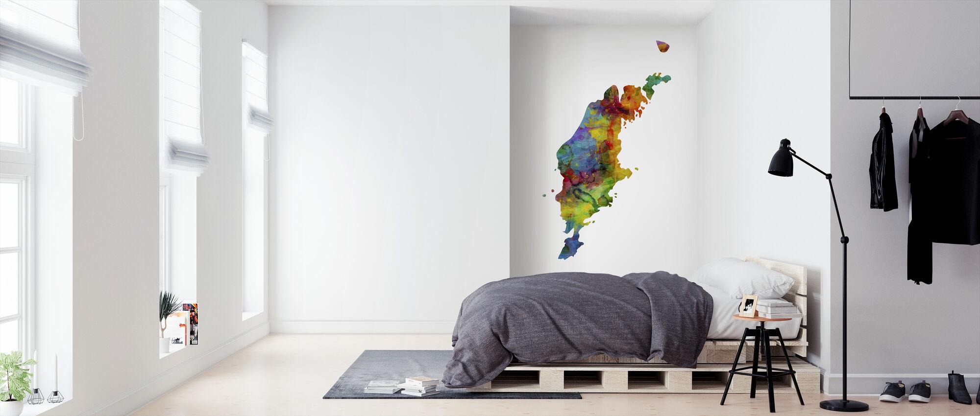 Gotland Watercolor Map - Wallpaper - Bedroom