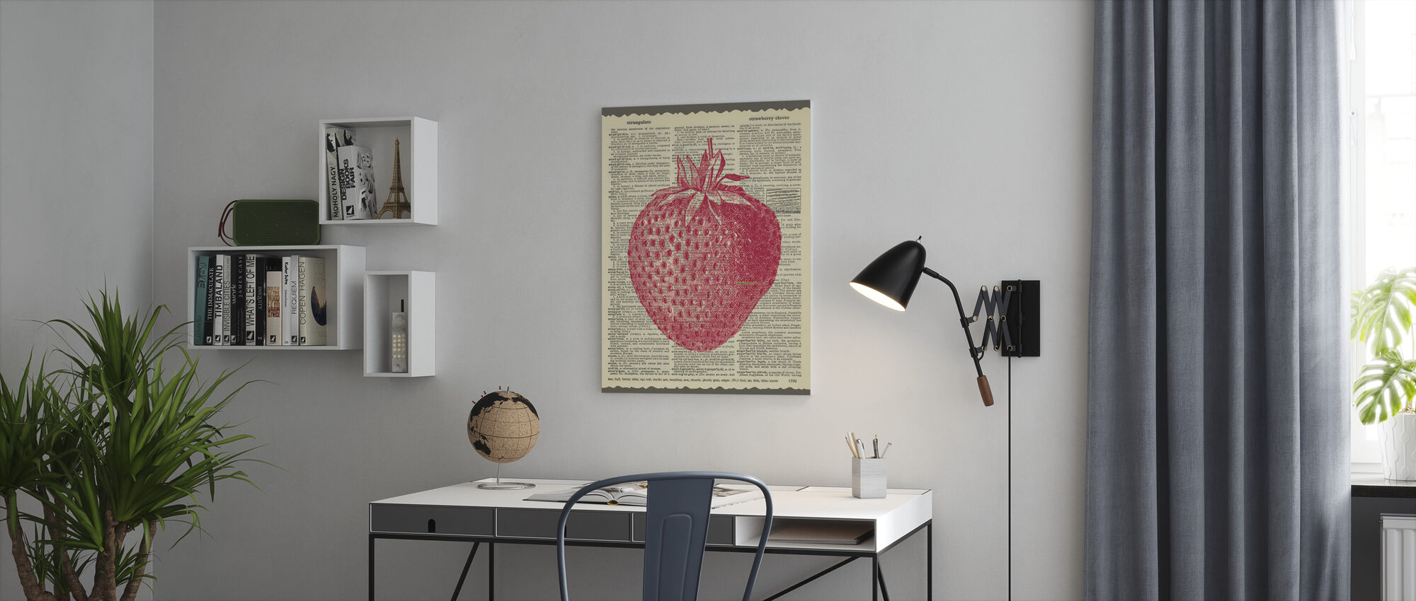 Strawberry and Text - Canvas print - Office