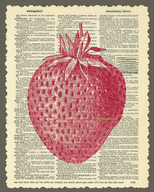 Strawberry and Text Fototapeter & Tapeter 100 x 100 cm