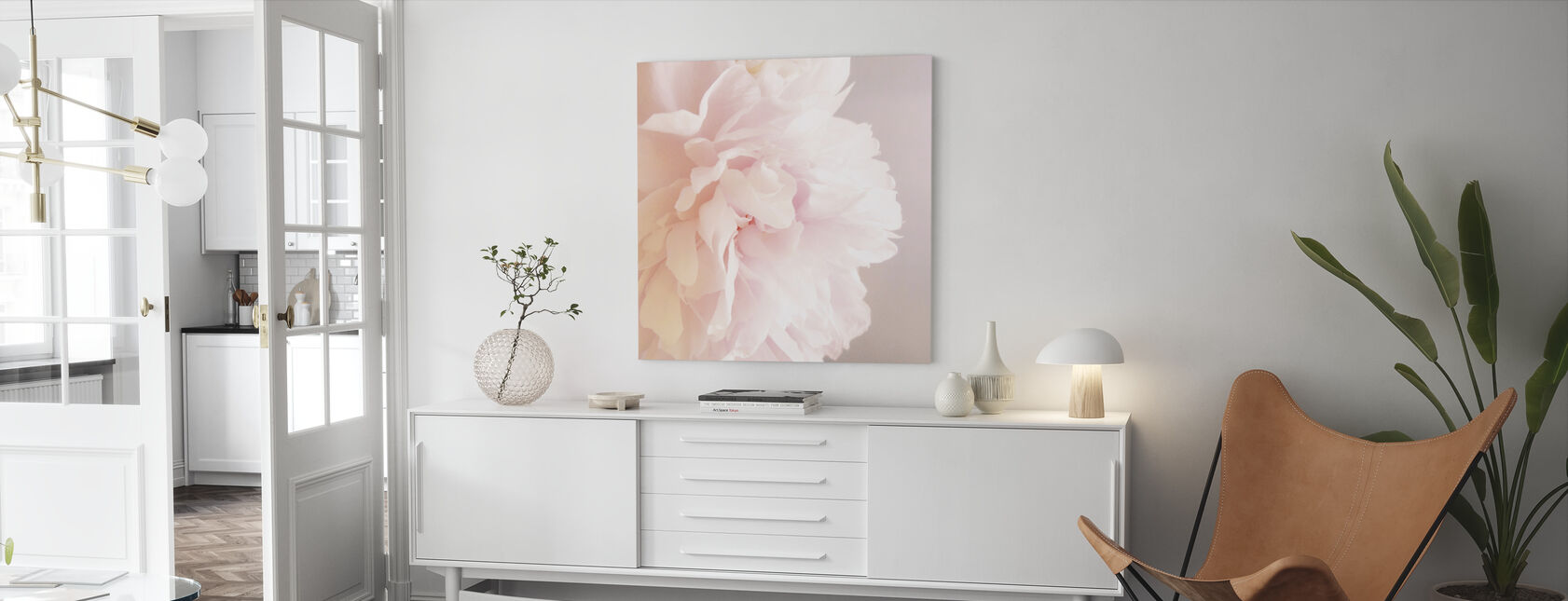 Light Pink Peony - Canvas print - Living Room
