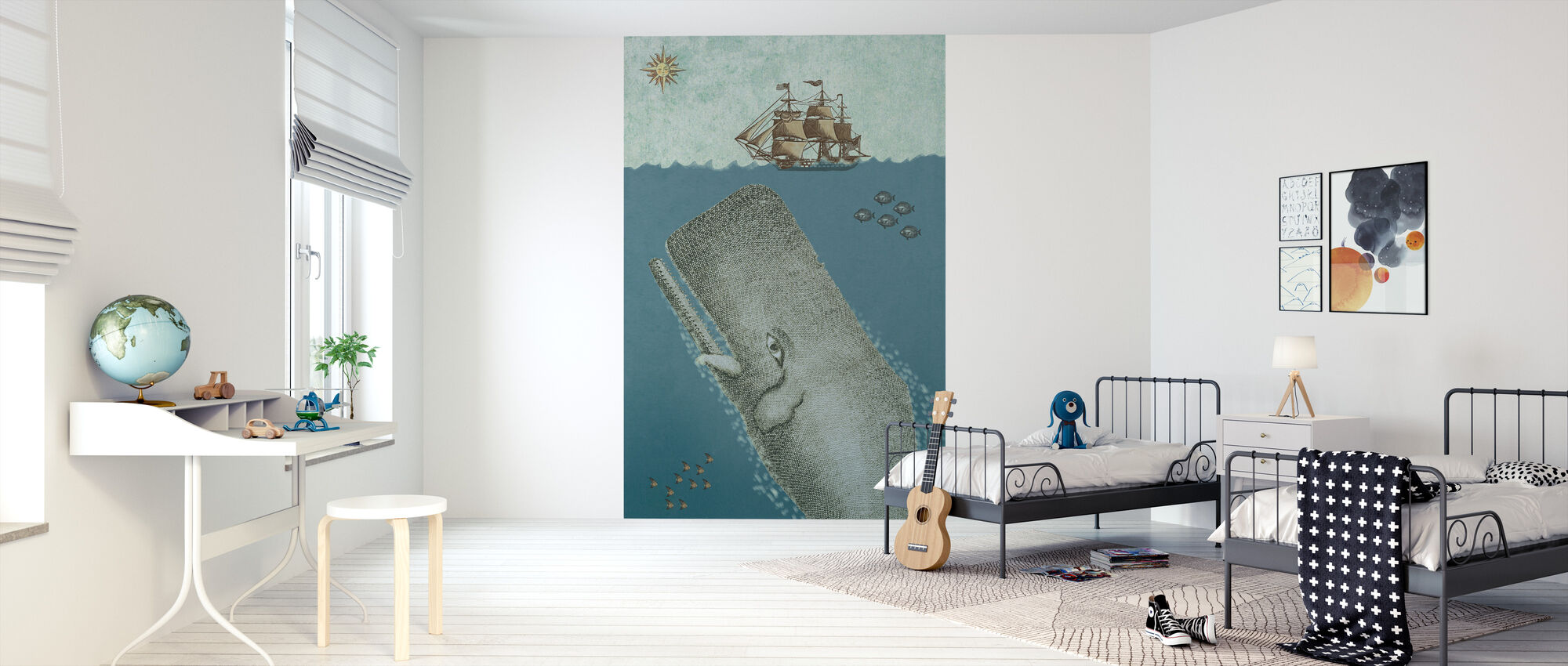 Whale and Ship - Wallpaper - Kids Room