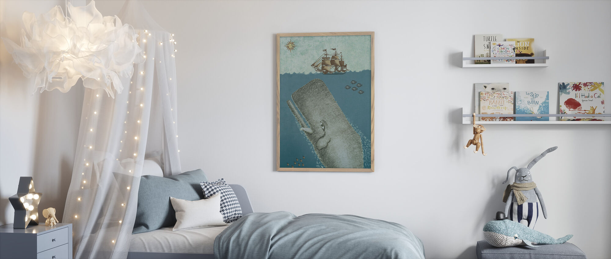 Whale and Ship - Framed print - Kids Room