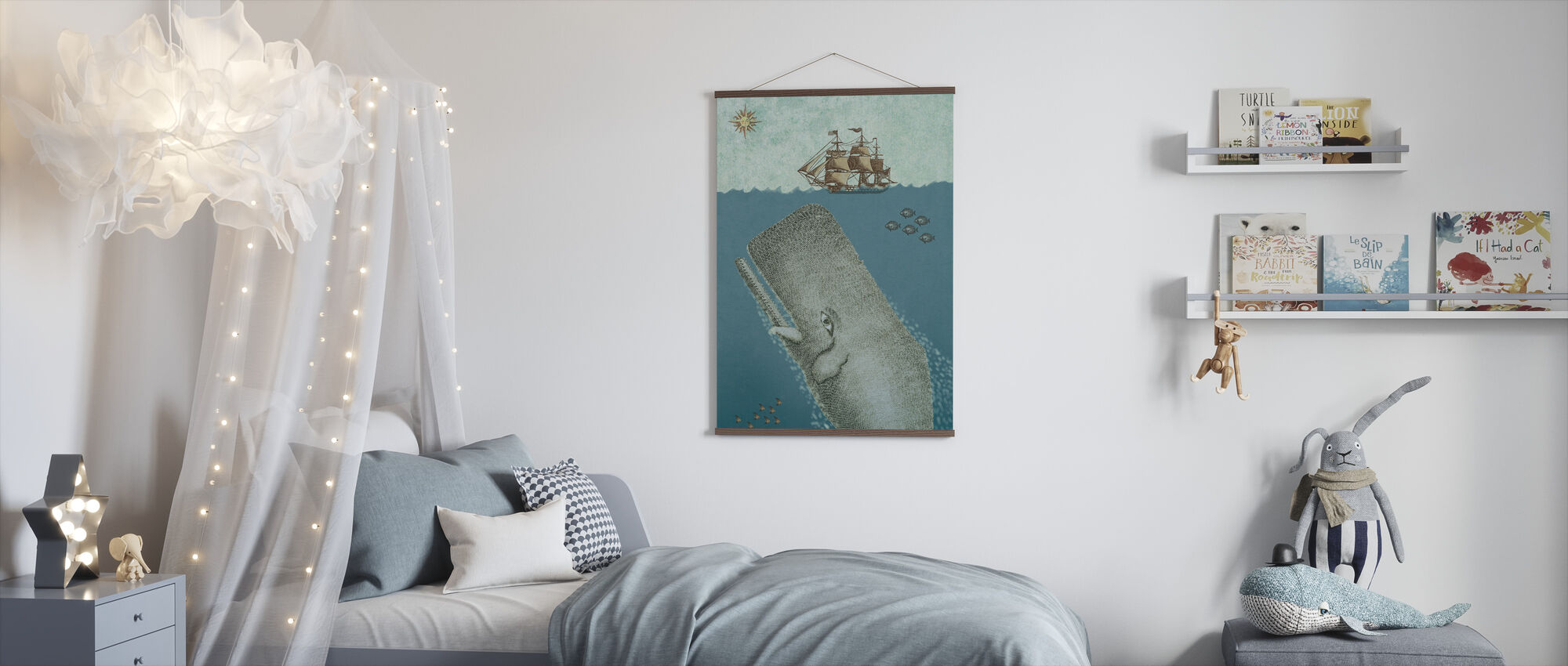 Whale and Ship - Poster - Kids Room