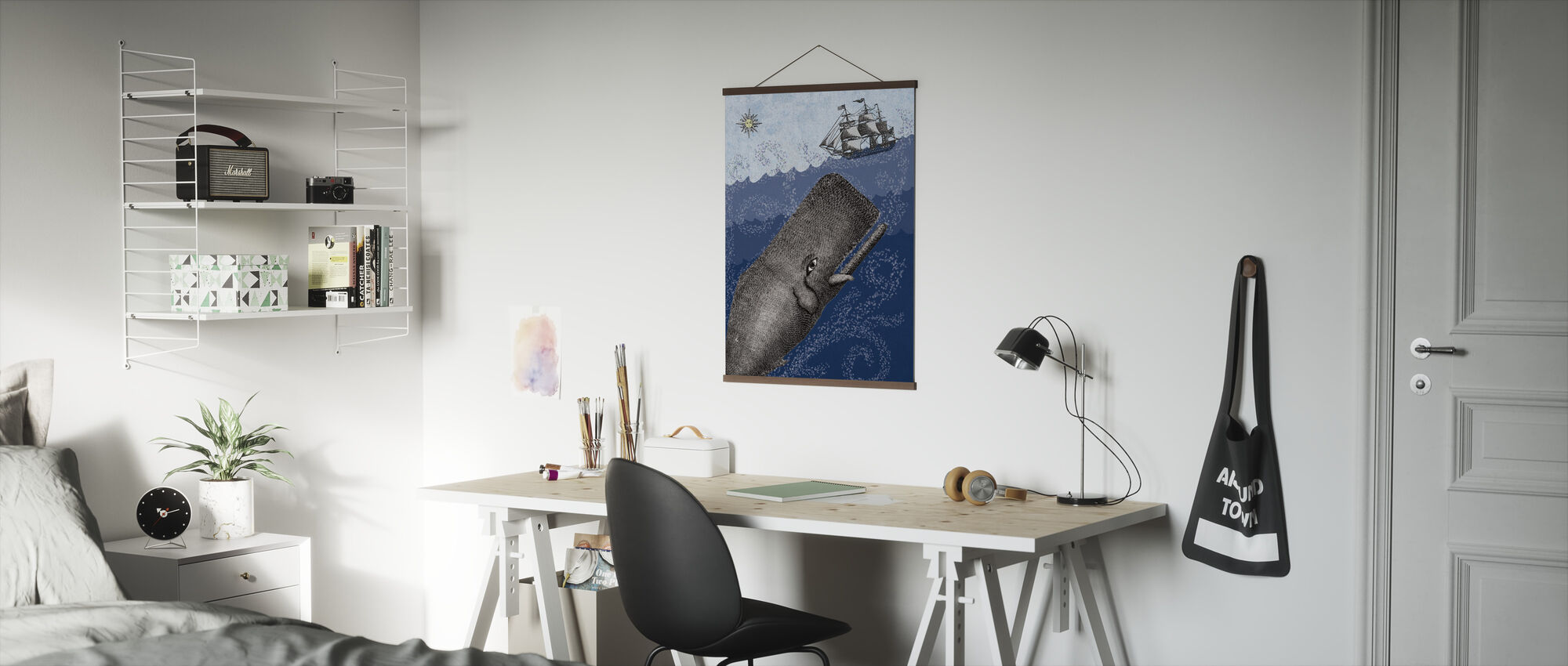 Whale and Ship - Dark Blue - Poster - Office